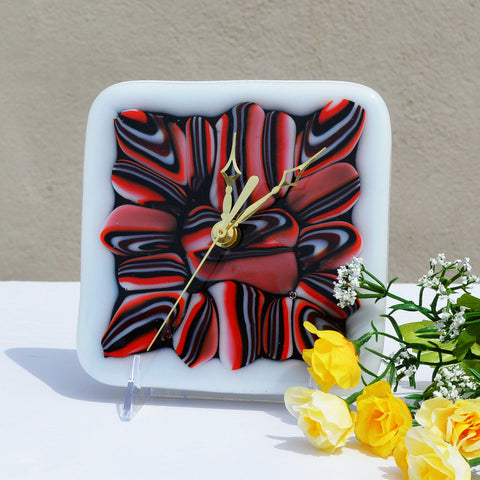 Fused Glass Battery Operated Wall or Desk Clock | Abstract Clock