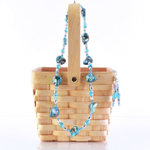 Turquoise Blue Shell Bead Necklace and Earring Set
