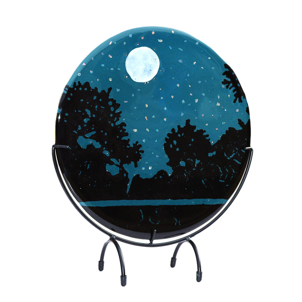 Fused Glass Art Moon and Night Stars Round Table Art | Starry Nights