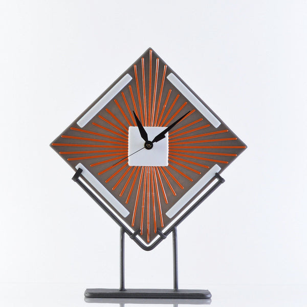 Art Deco Fused Glass FreeStanding Battery Operated Desk Clock