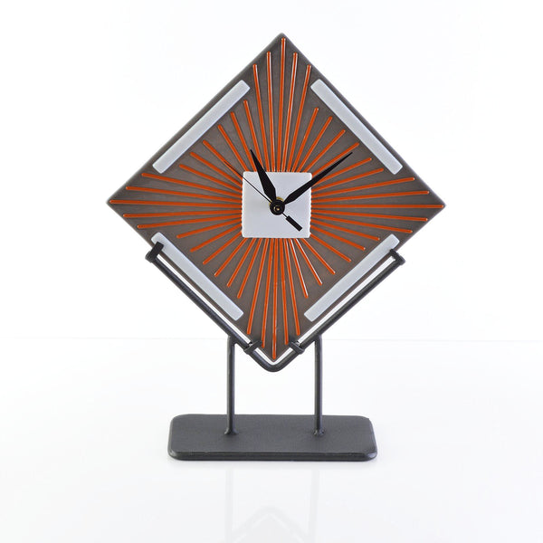 Art Deco Desk Clock | Custom Fused Glass Clocks