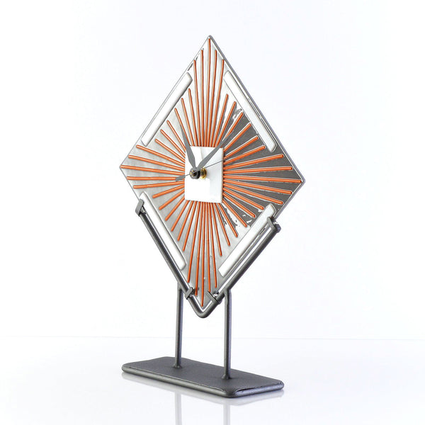 Clock - Art Deco Fused Glass FreeStanding Battery Operated Desk Clock