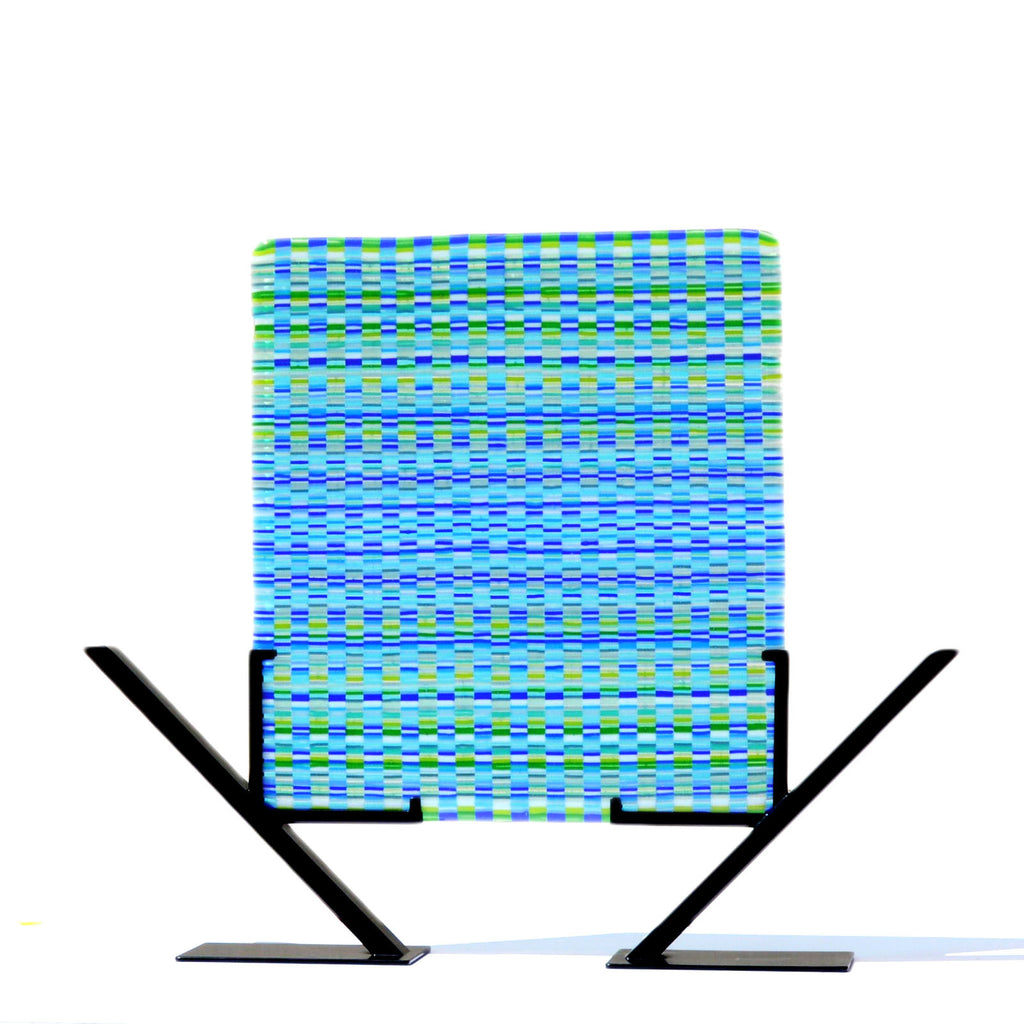 Bargello Glass Art in Blue Green | Woven Tapestry Glass Art