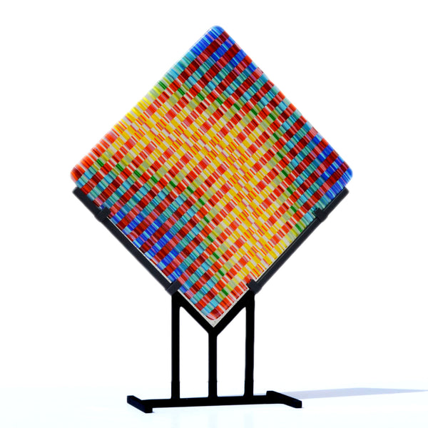Bargello Modern Art Panel Fused Tapestry Glass | Contemporary Woven Glass