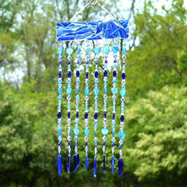 Sea Blue Glass Wind Chimes - Sun Catcher - Wall Hanging