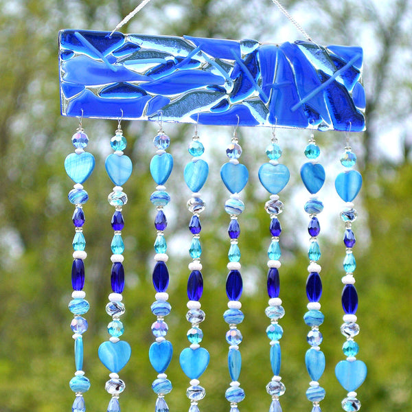 Glass Wind Chimes | Blue Beaded Curtain, Sun Catcher, Wall Hanging