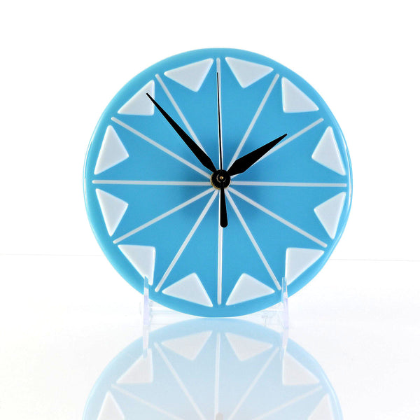 Fused Glass Mid Century Modern Wall Desk Clock | Battery Operated