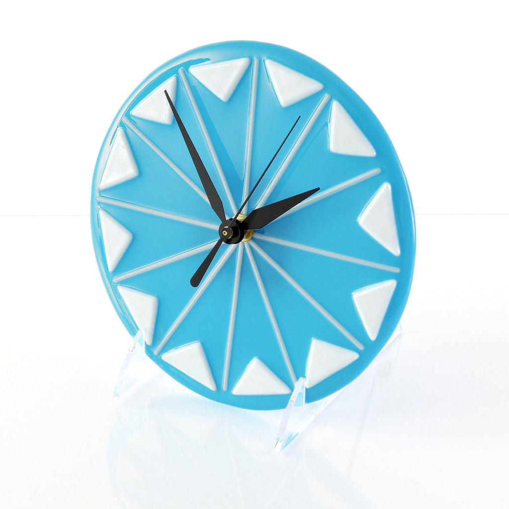 ... Clock Fused Glass Mid Century Modern Wall Desk Clock | Battery Operated  ...