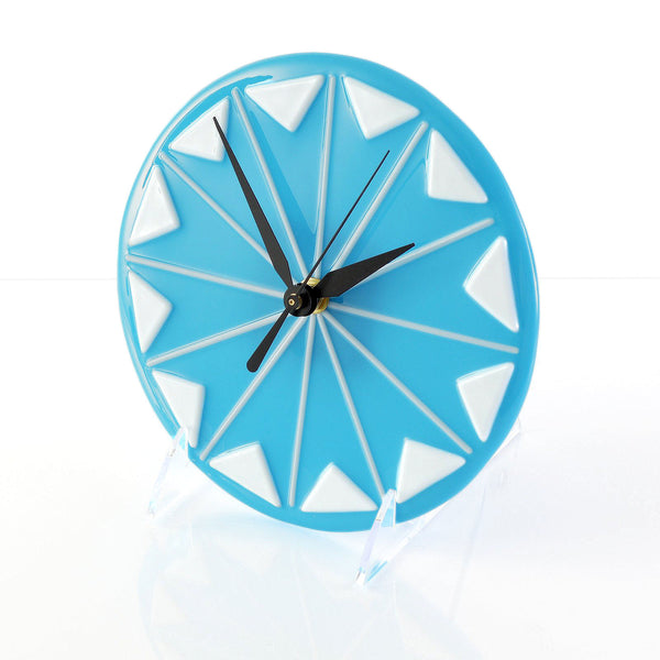 Clock Fused Glass Mid Century Modern Wall Desk Clock | Battery Operated