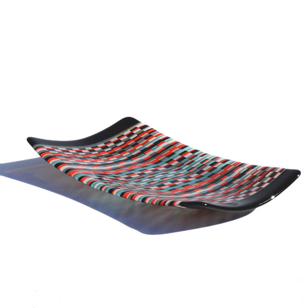 Fused Glass Bargello Tapestry Sushi Plate / Tray | Woven Glass