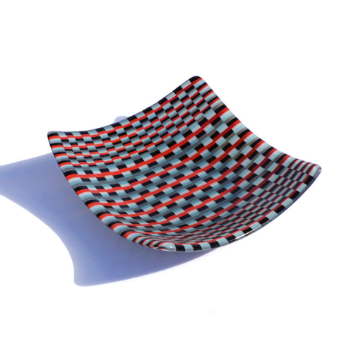 Bargello Fused Glass Tapestry Print Square Candy Dish | Fruit Bowl