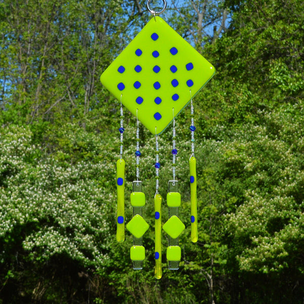 Fused Glass Wind Chimes Diamond Shape Hand Beaded in Spring Green