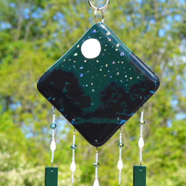 Glass Wind Chimes Evening Sky Starry Night Beaded Wall Hanging