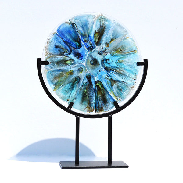 Fused Glass Art | Round Panel Melted Glass Flow Art Piece