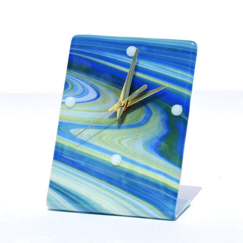 Fused Glass Battery Operated Modern Desk Clock
