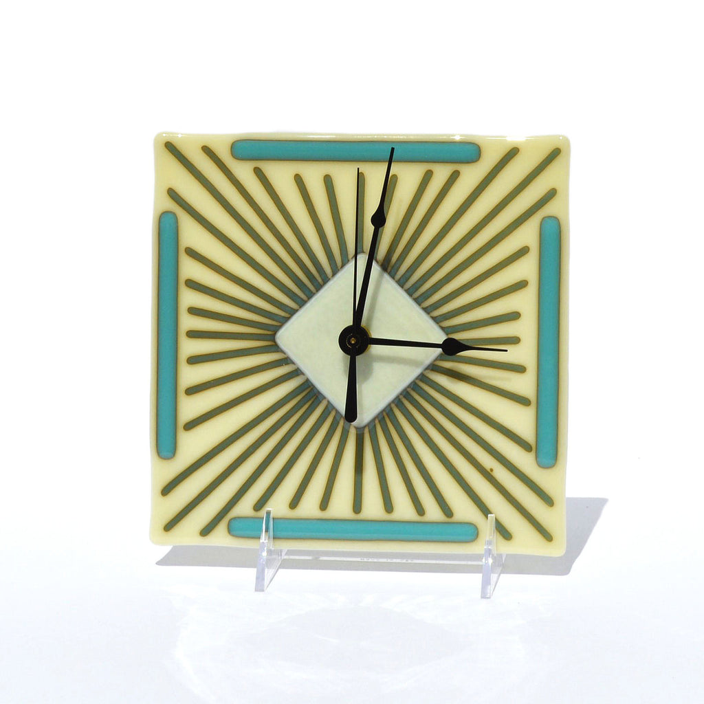 Fused Glass Clock Art Deco Design | Battery Operated Wall or Desk Clock