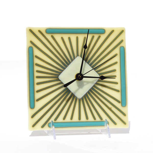 Clock Fused Glass Battery Operated Wall Desk Clock | Art Deco Design