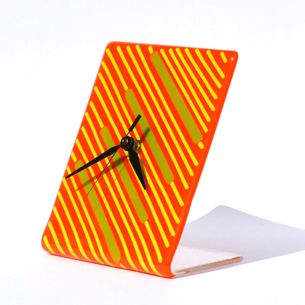 Clock - Art Deco Fused Glass Free-Standing Battery Operated Desk Clock