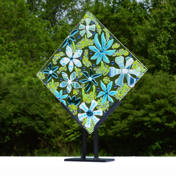 Flower Power Fused Glass Mosaic Art Panel/Floral Art Deco Retro Design