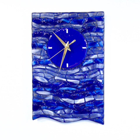 Blue Wave Mosaic Wall Clock | Fused Glass Ocean Blue Accent Clock