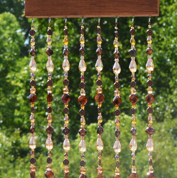 Beaded Wall Hanging Curtain Sun Catcher with Brass Bells | Wall Decor