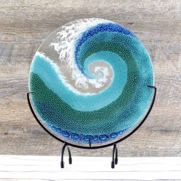Fused Glass Art Panel Round Ocean Wave in Sea Blue | Crashing Waves Sea Glass Art