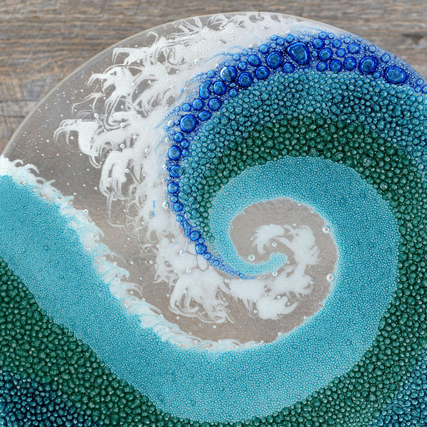 Contemporary Glass Art Crashing Wave | Rolling Waves with Stand