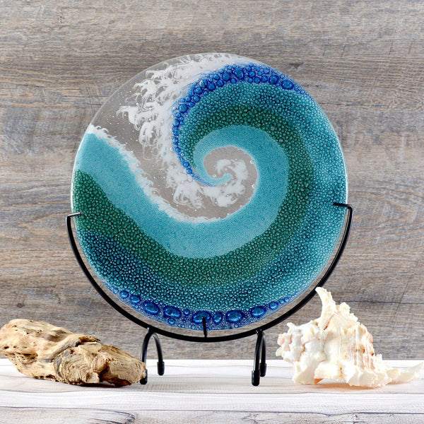 Contemporary Glass Art Wave | Crashing Rolling Waves with Stand