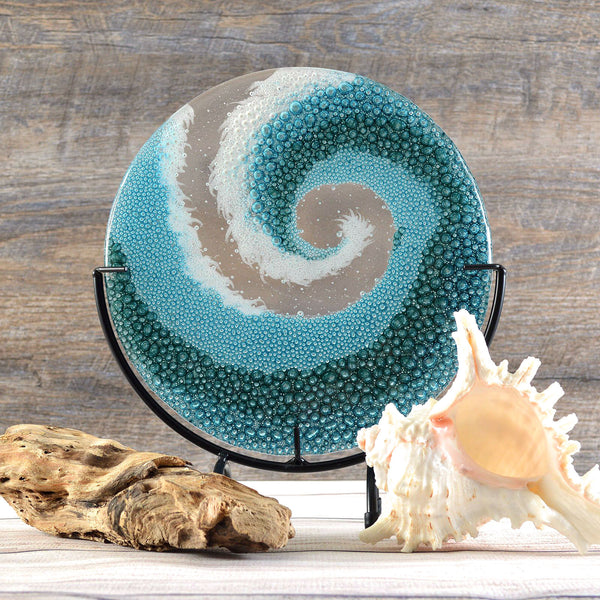 Fused Glass Art Panel Rolling Crashing Ocean Wave -Small | Beach Themed Art