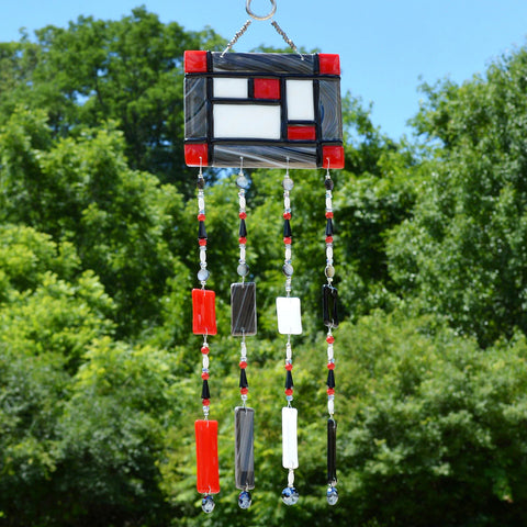 Fused Glass Wind Chimes | Mondrian Style Geometric Mosaic Wall Hanging