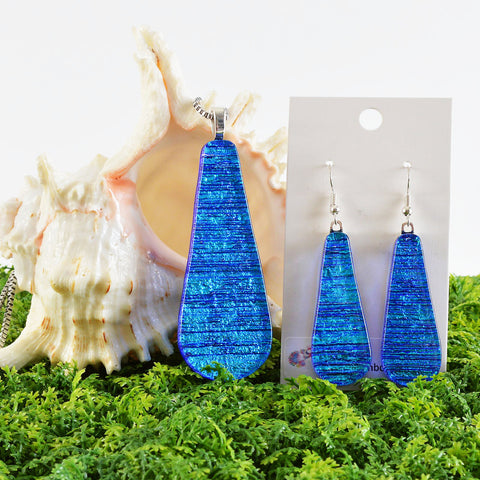 Large Dichroic Fused Glass Matching Necklace Pendant & Earring Set in Blue