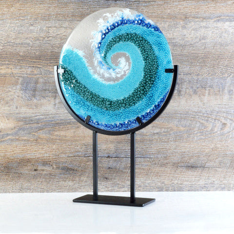 Modern Glass Art Round Crashing Ocean Wave Decorative Sculpture by Brenda Buschle