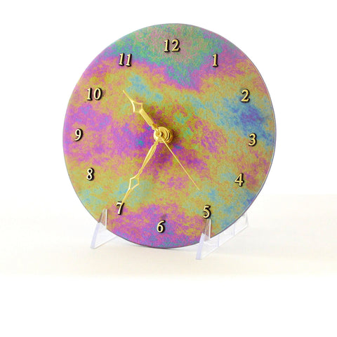 Modern Abstract Round Glass Wall Clock | Contemporary Home Accents