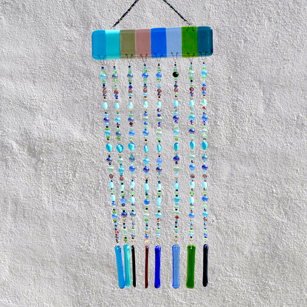 Fused Glass Wind Chimes | Beaded Curtain Sun Catcher Yard Art