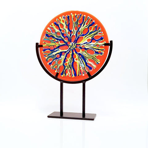 Fused Glass Art Sea Coral Round with Gallery Stand | Abstract Art