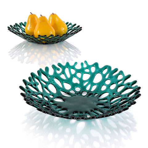 Emerald Green Contemporary Glass Art Sculpted Coral Bowl