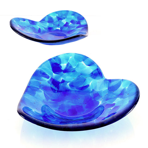 Blue Fused Glass Sculpted Art Heart Shaped Fruit Bowl Candy Dish by Brenda Buschle