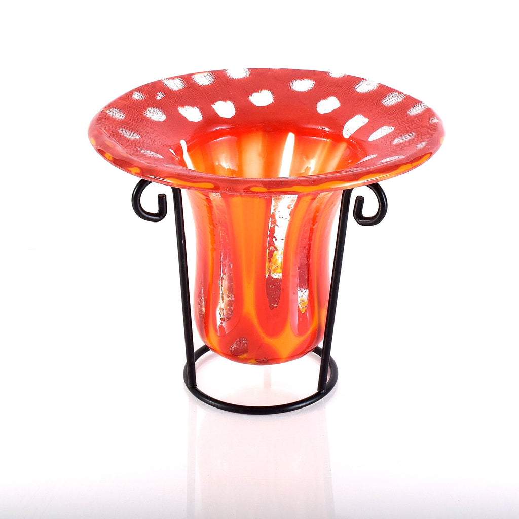 Red Orange Glass Art Drop Vase or Candle Holder | Modern Home Decor