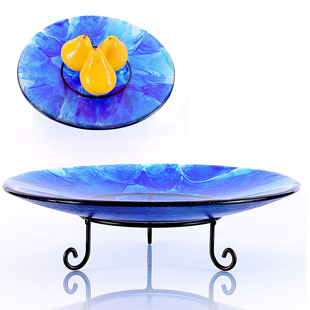 Well-liked Shades of Blue Fused Glass Art Bowl | Centerpiece Bowl with Stand DD61