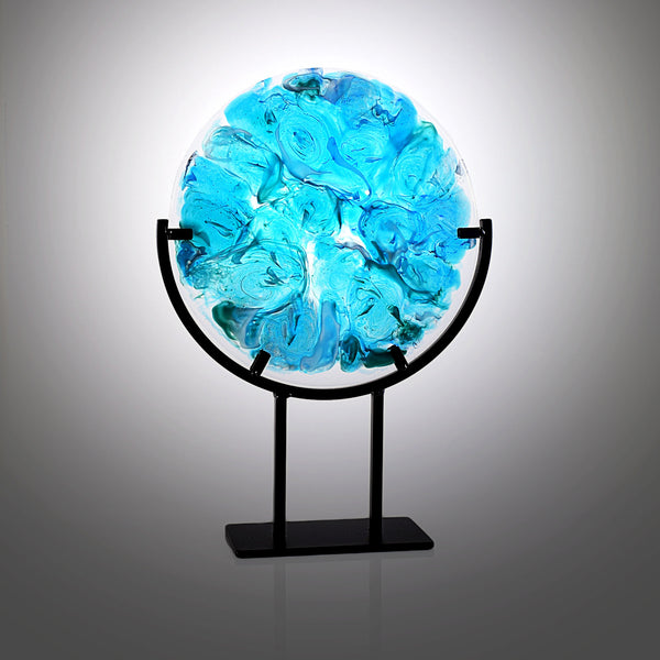 Turquoise Blue Abstract Fused Glass Art w/ Contemporary Gallery Stand lighted