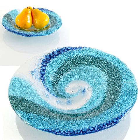 Contemporary Decorative Glass Bowl | Crashing Breaking Ocean Waves
