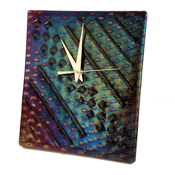 Clock - Iridescent Glass | Free-Standing Battery Operated Desk Clock