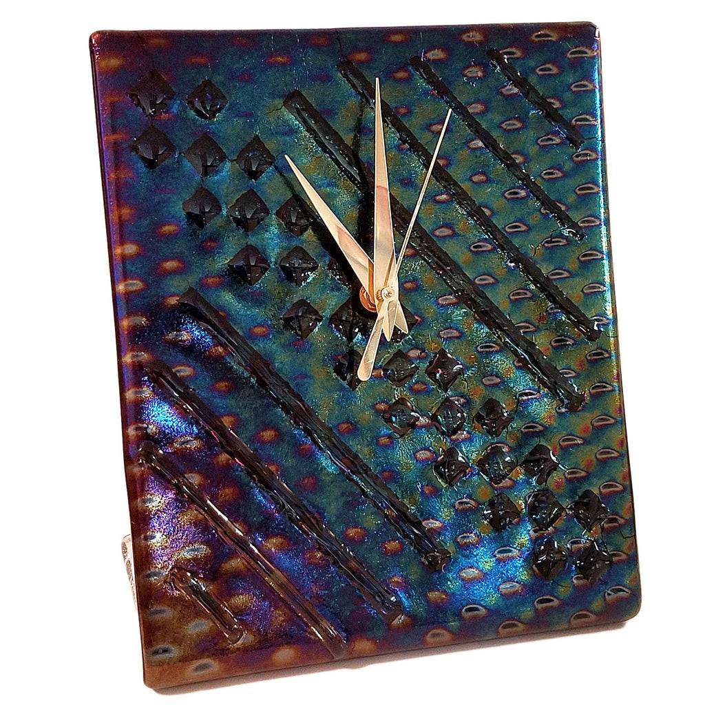 Iridescent Fused Glass Battery Operated Desk Clock | The Glass Rainbow
