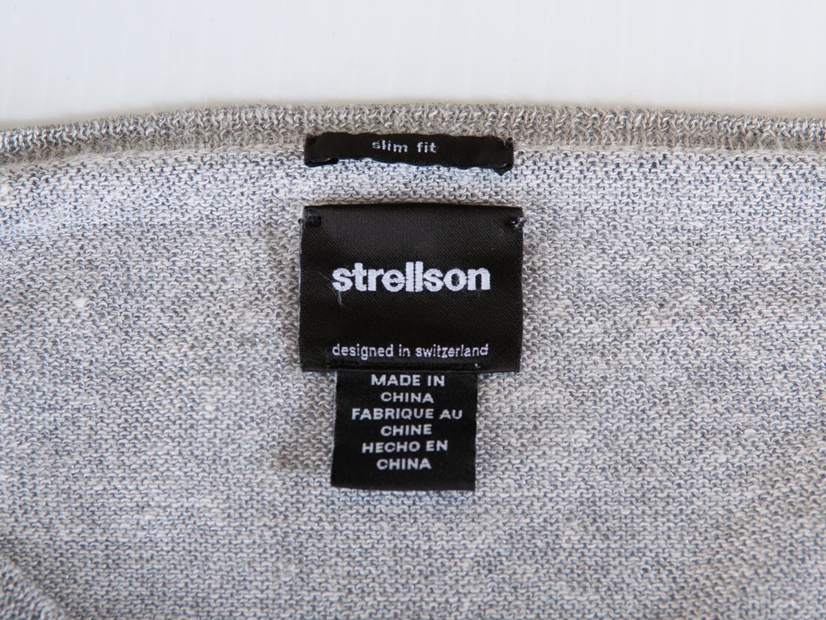Strellson Grey Striped Slim Fit Lightweight Lewin-R Sweater for Luxmrkt.com Menswear Consignment Edmonton