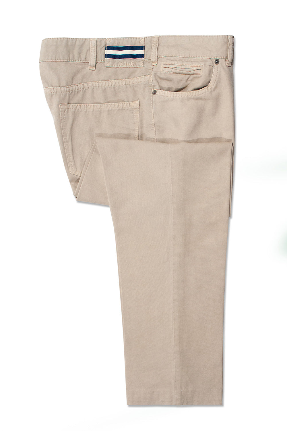 Boggi Milano Beige Garment Washed Cotton Pants