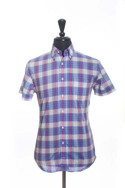 Gant Rugger Light Blue Plaid Short-Sleeve Shirt