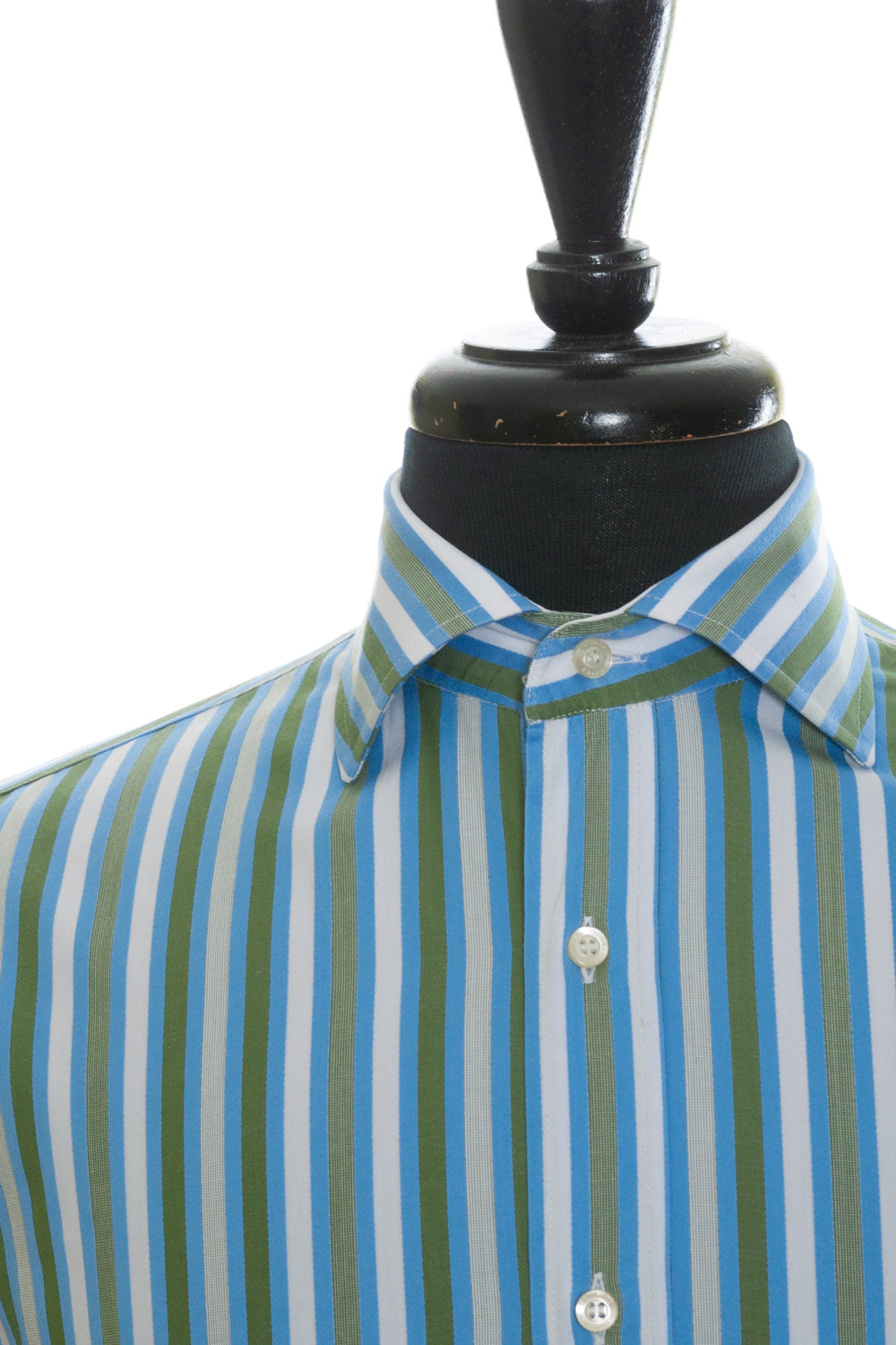Etro Milano Green and Blue Striped French Cuff Shirt for Luxmrkt.com Menswear Consignment Edmonton