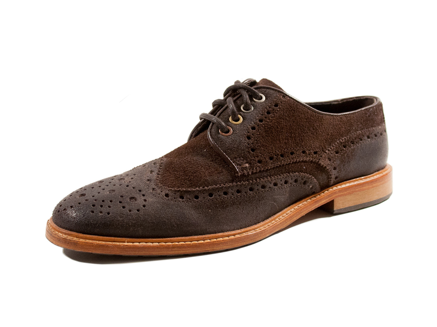 Hugo Boss Dark Brown Suede Wing Tip Shoes. Luxmrkt.com menswear consignment Edmonton