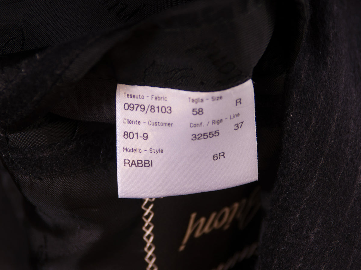 Brioni Black Pinstriped Rabbi Coat