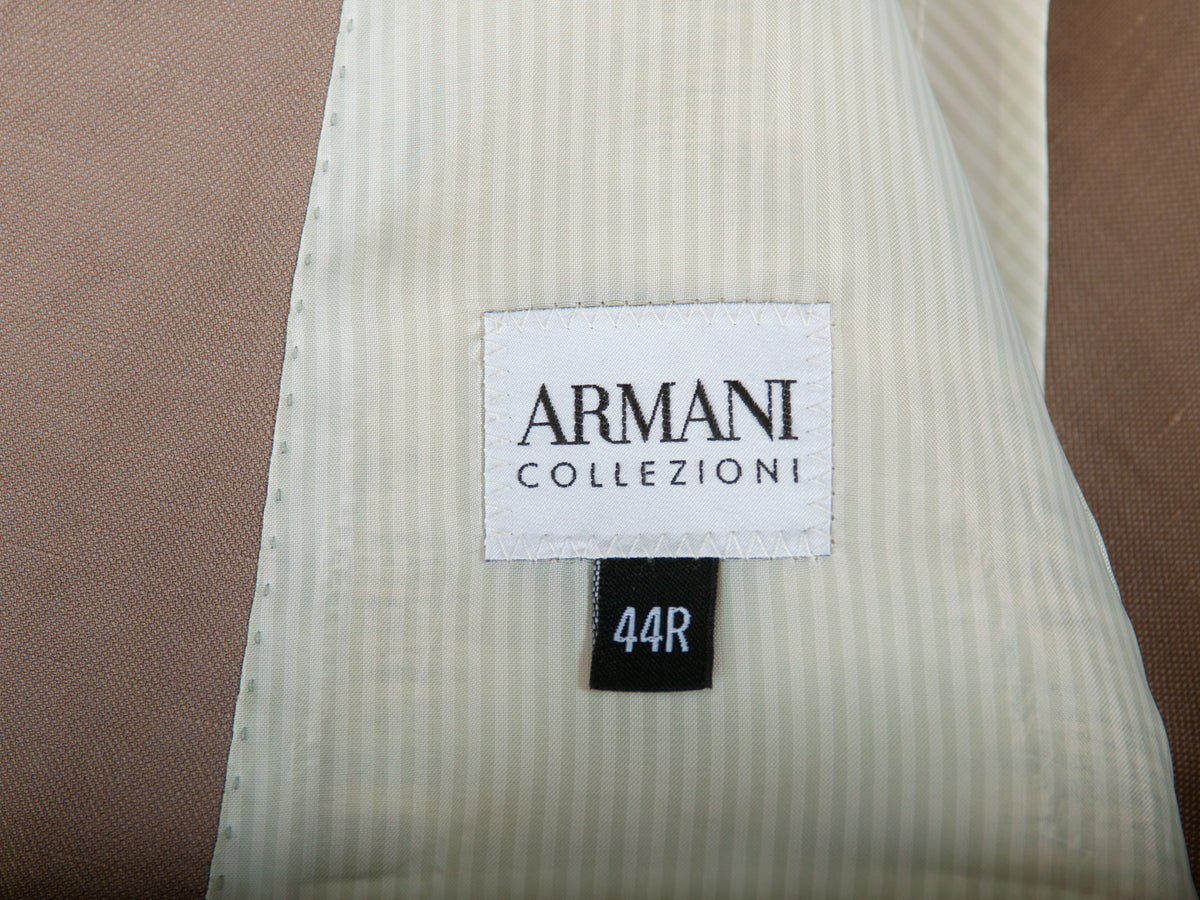 Armani Collezioni Light Brown Silk Blend Blazer for Luxmrkt.com Menswear Consignment Edmonton